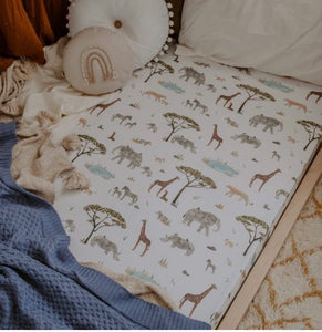 Snuggle Hunny Kids Fitted Cot Sheet Safari