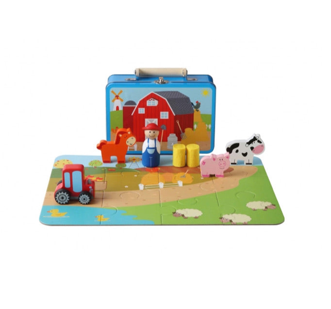 Toyslink Farm Playset with Puzzle in Tin