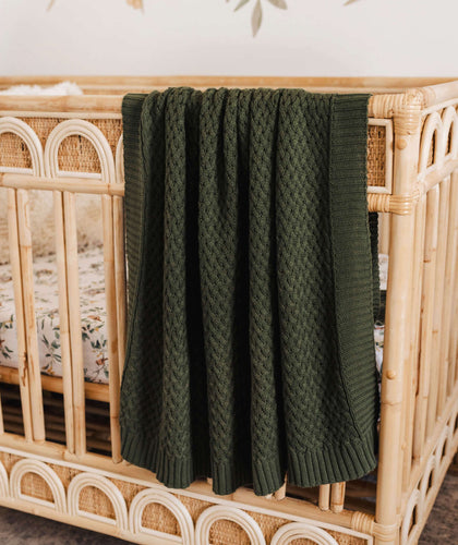 Snuggle Hunny Kids Olive Diamond Knit Baby Blanket
