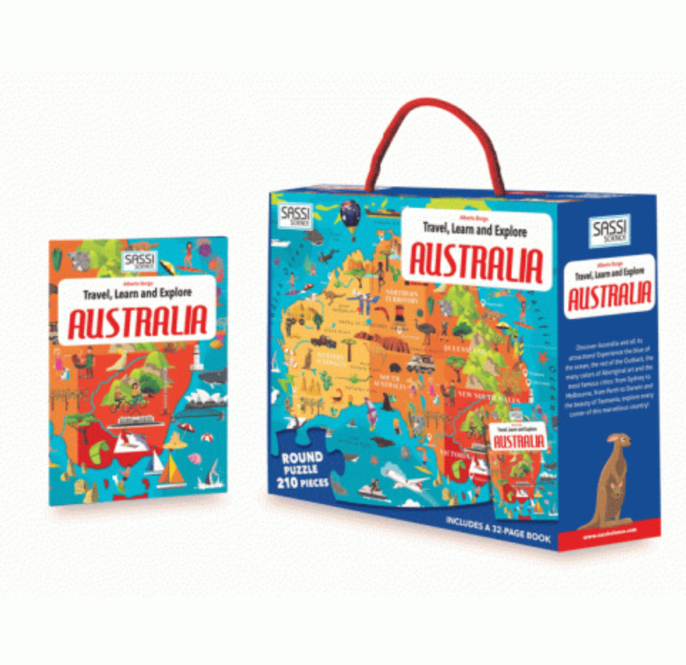 Sassi Travel Learn Explore Australia 205 Piece Puzzle & Book