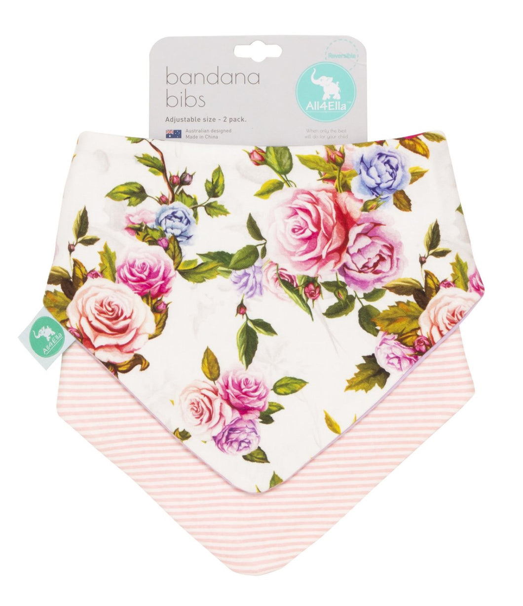 All 4 Ella Bandana Bibs Rose