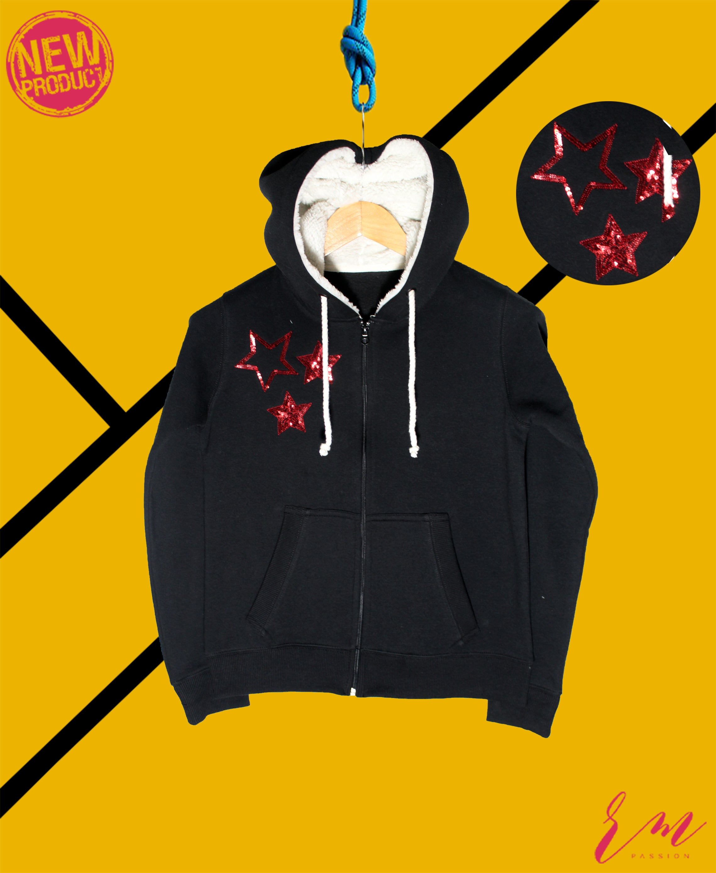 Ladies Zipper Hoodie (Off White) (Colors available)