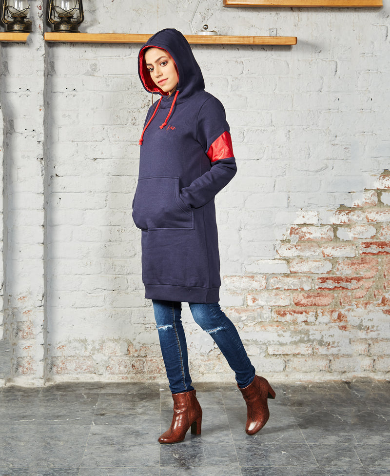 Ladies Long Hoodie (Navy)