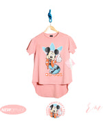 Ladies Long tail top (Pink Mickey)