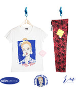 Ladies Packs (White) follow your own rules / Flower Printed trouser (Red) )