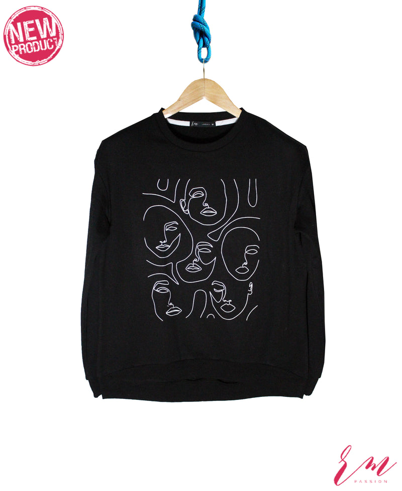 Ladies Printed Sweatshirt (Black)