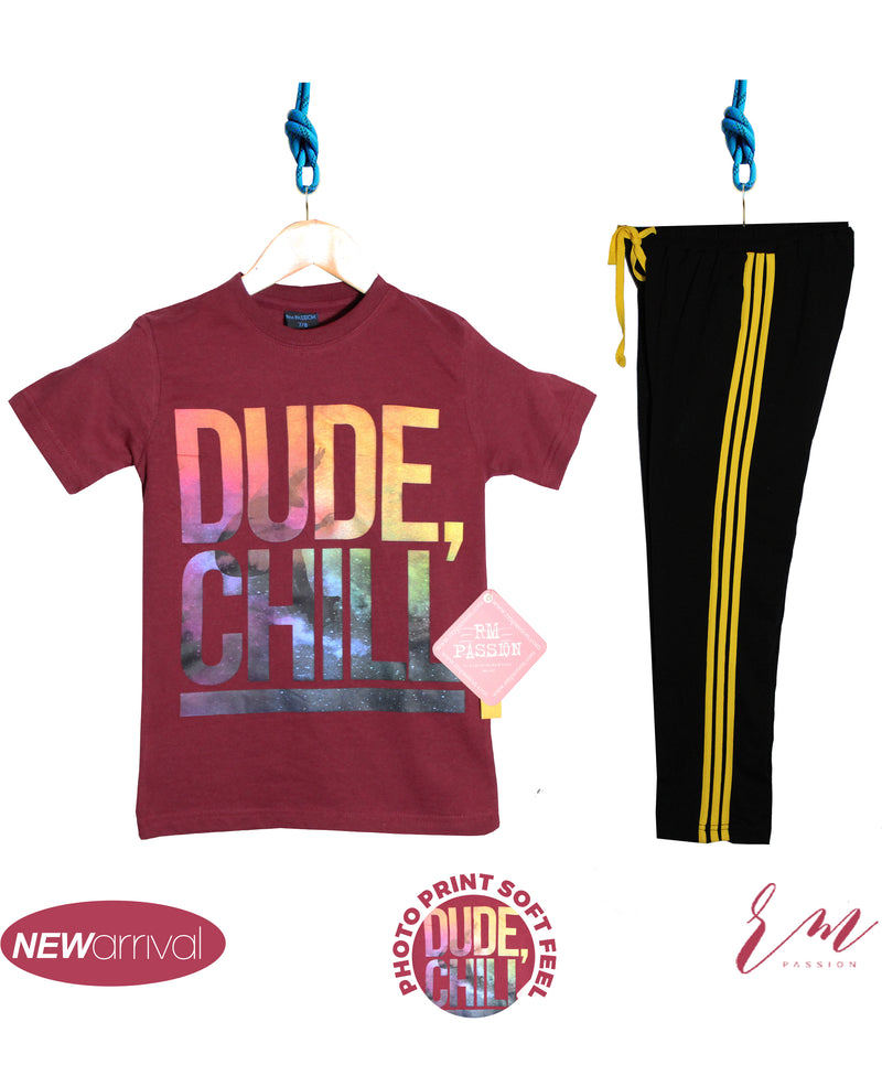 Boys (Burgundy Dude Chill / Yellow stripe trouser )