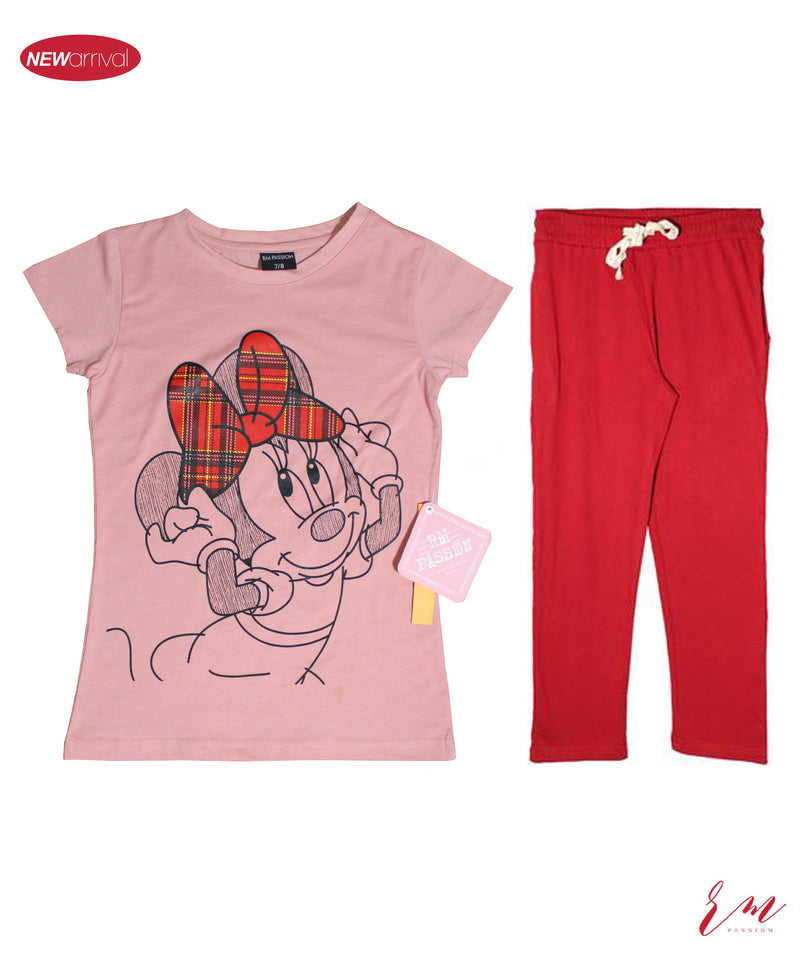 Girls Pack (Pink Half sleeve  / Red Trouser )