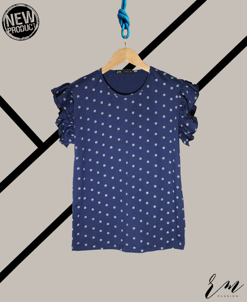 Ladies Frill top (Navy)