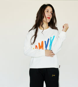 Printed White Sweatshirt (W-19-8)