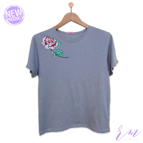 Grey embroidery top