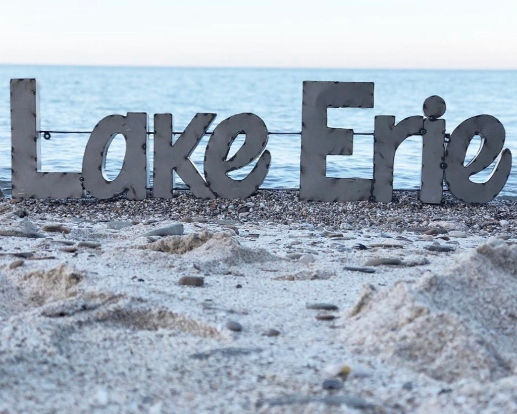 Metal Lake Erie Sign LARGE