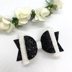 Monochrome Double Bow - Lewis Leigh Hair Bows - Glitter Bows