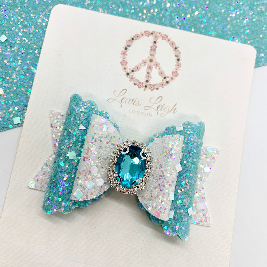 Frozen Sparkle Jewel - Lewis Leigh Hair Bows - Glitter Bows