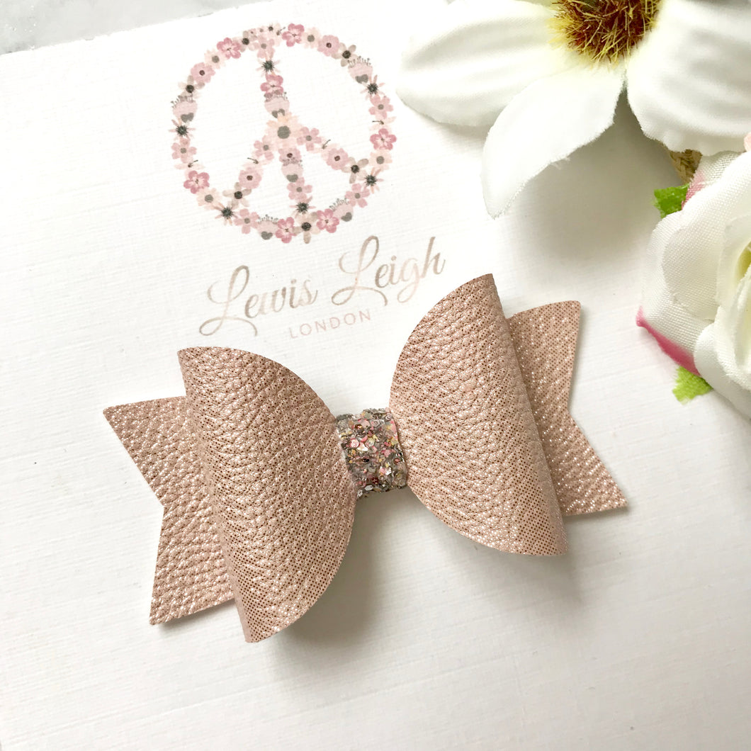 Dusty Pink Jewel - Lewis Leigh Hair Bows - Glitter Bows