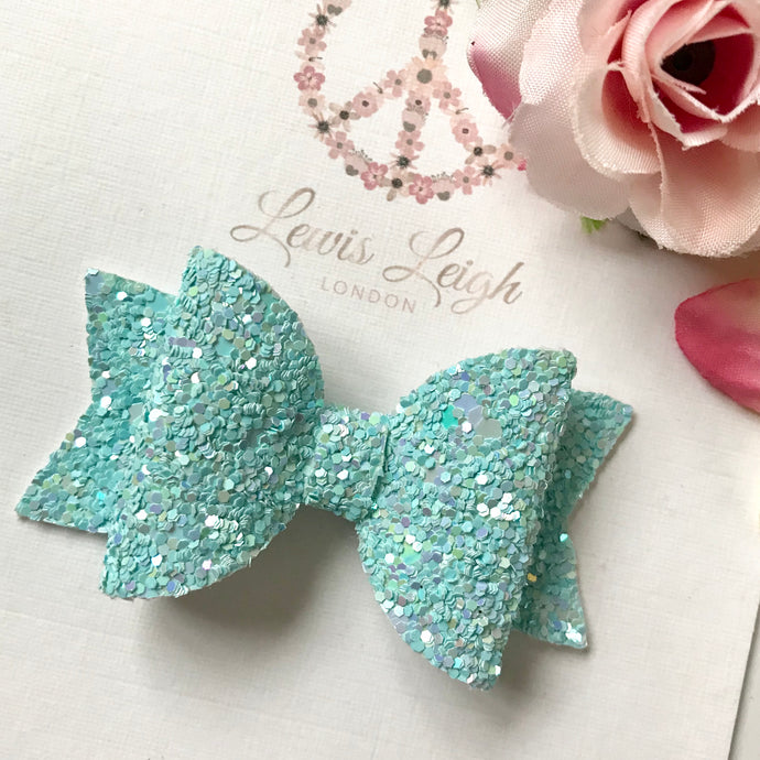 Blue Dolly - Lewis Leigh Hair Bows - Glitter Bows