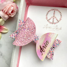 Load image into Gallery viewer, Pink Crystal Name Bow - Lewis Leigh Hair Bows - Glitter Bows