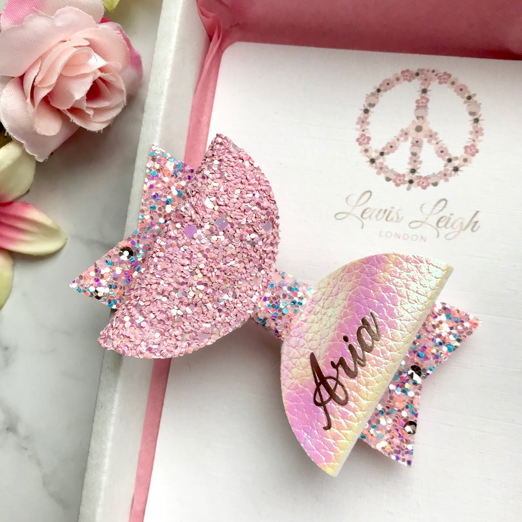 Pink Crystal Name Bow - Lewis Leigh Hair Bows - Glitter Bows