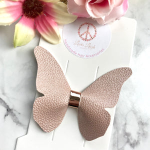 Dusty Pink Butterfly - Lewis Leigh Hair Bows - Glitter Bows
