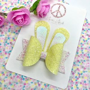 Lemon Bunny Ears Bow - Lewis Leigh Hair Bows - Glitter Bows
