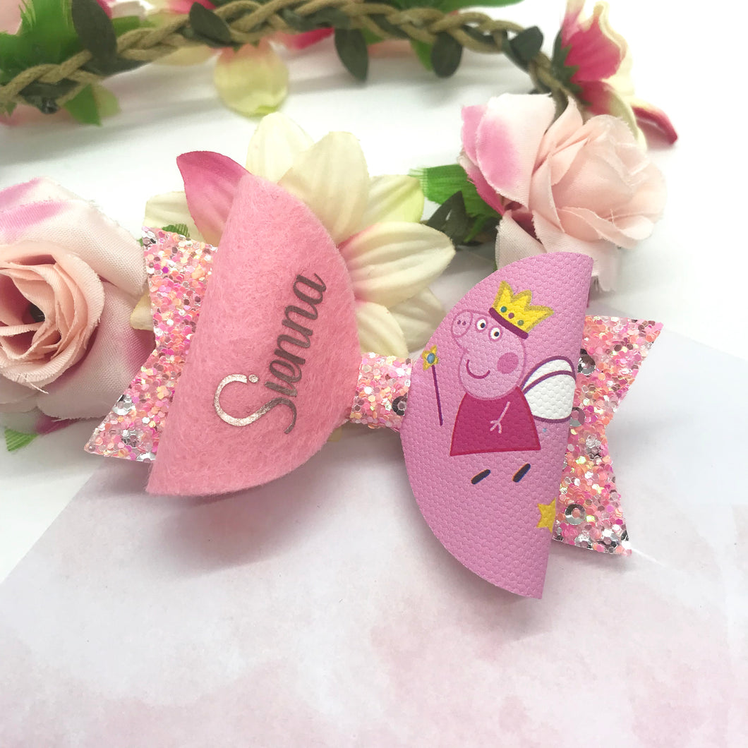 Peppa Personalised Bow - Lewis Leigh Hair Bows - Glitter Bows