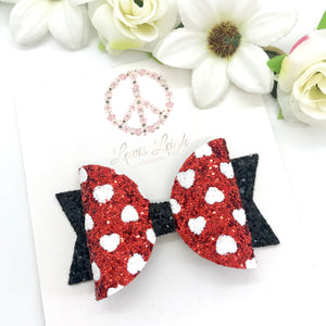 Minnie Red Hearts - Lewis Leigh Hair Bows - Glitter Bows