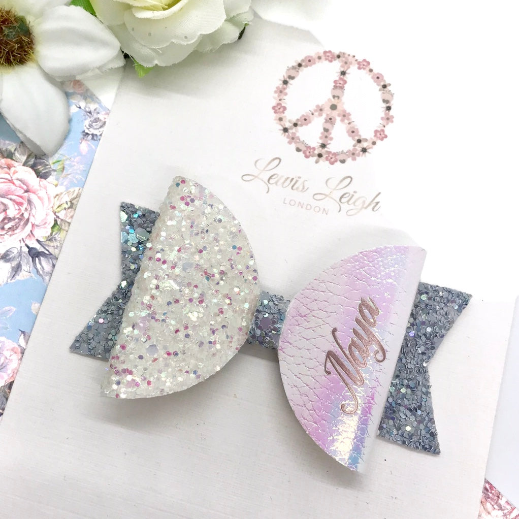 Bluebell Name Bow - Lewis Leigh Hair Bows - Glitter Bows