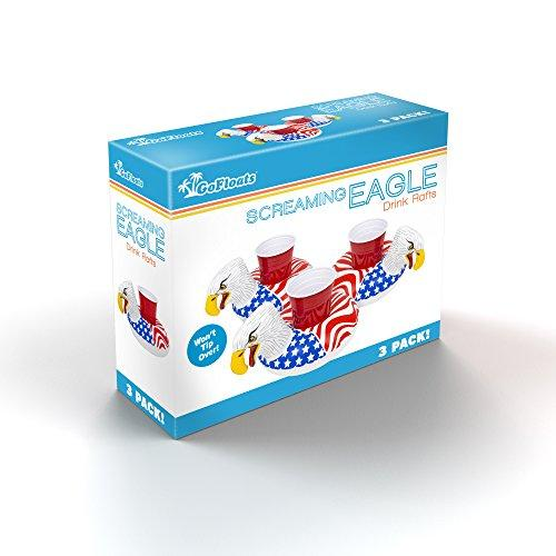 Bald Eagle Inflatable Pool Drink Holders - 3 Pack