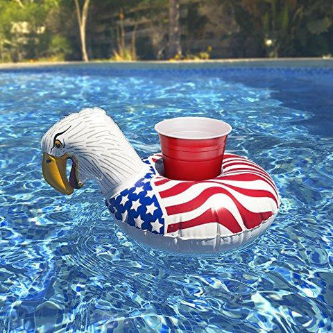 Image of Bald Eagle Inflatable Pool Drink Holders - 3 Pack