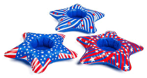 Trump Pool Float & Set of 3 Patriotic Star Cup Holder Floats