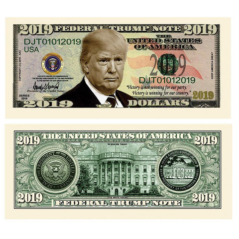 Image of Donald Trump 2019 Presidential Dollar Bill