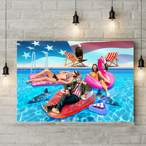 Trump Pool Landscape Canvas