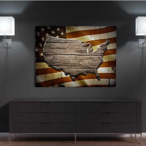 USA Wood Style Landscape Canvas