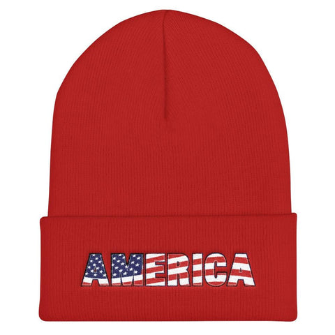 Image of America Cuffed Beanie - Red