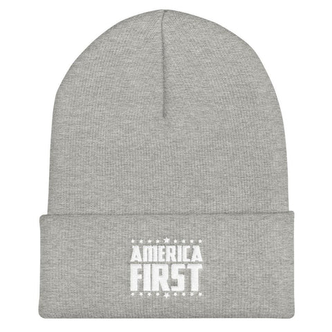 Image of America First Cuffed Beanie - Heather Grey