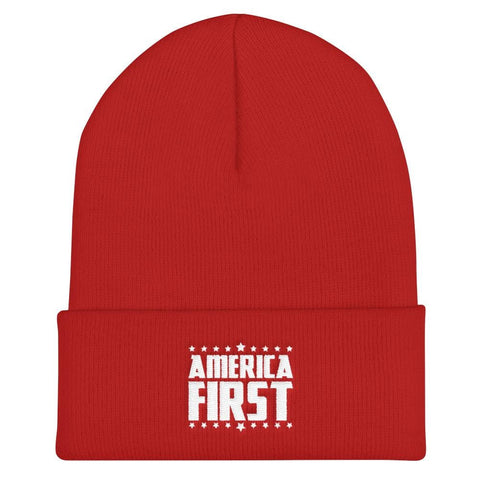 America First Cuffed Beanie - Red
