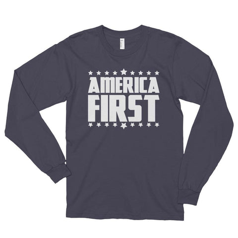 Image of America First *MADE IN THE USA* Unisex Long Sleeve T-shirt - Asphalt / S