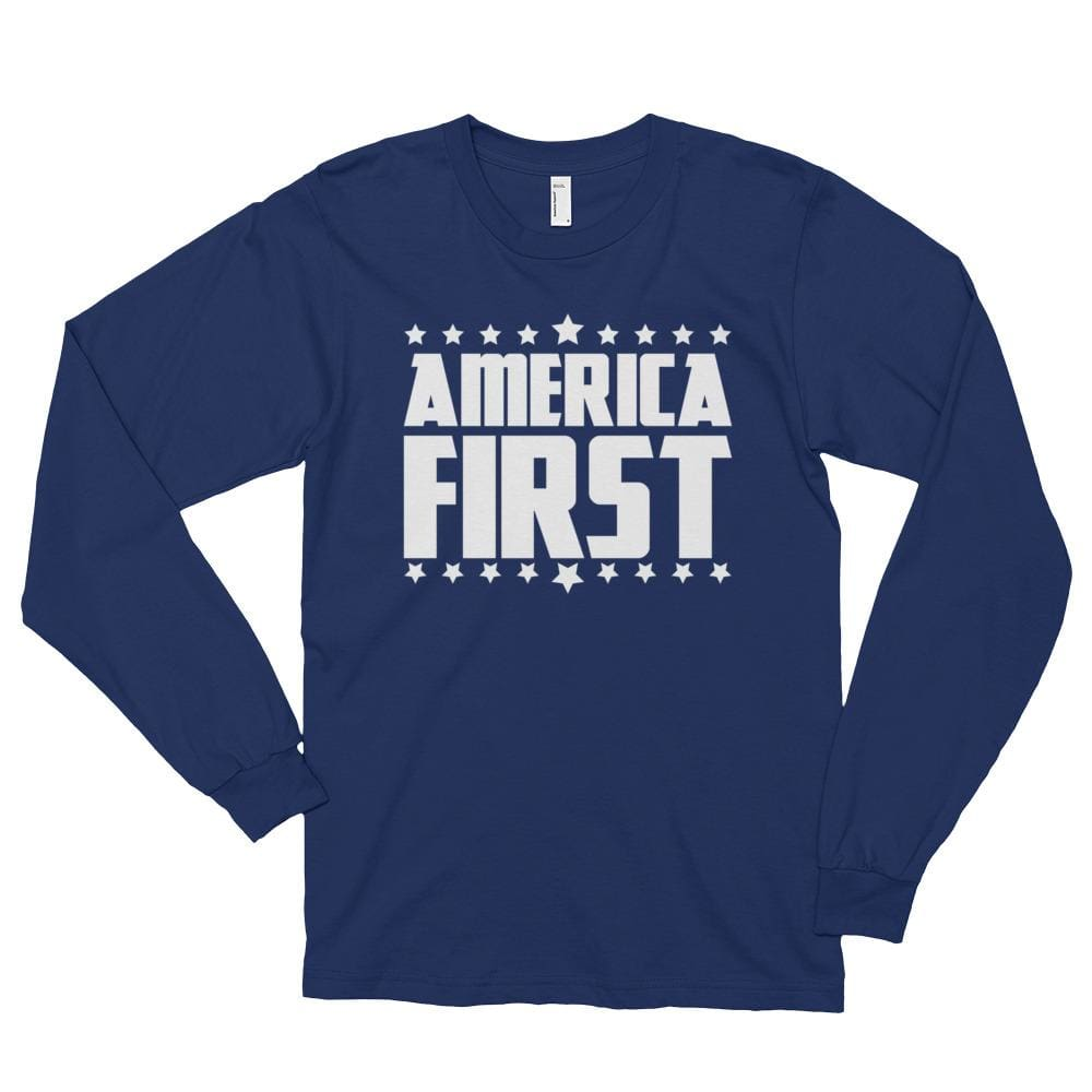 America First *MADE IN THE USA* Unisex Long Sleeve T-shirt - Navy / S