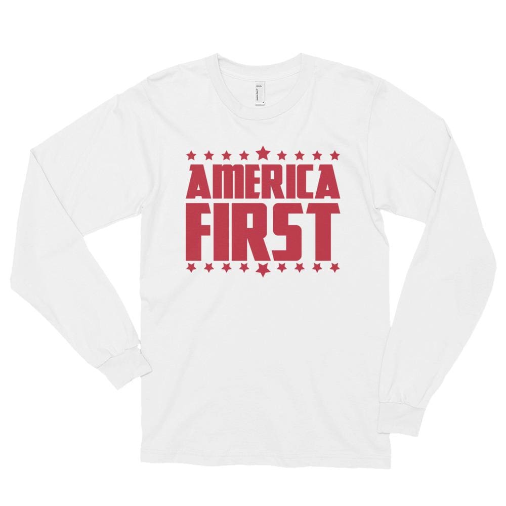 America First *MADE IN THE USA* Unisex Long Sleeve T-shirt (White / Red) - S
