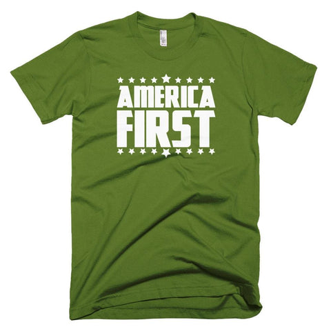 Image of America First *MADE IN THE USA* Unisex T-shirt - Olive / XS