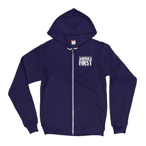 Image of America First *MADE IN THE USA* Zip-up Hoodie - Navy / XS
