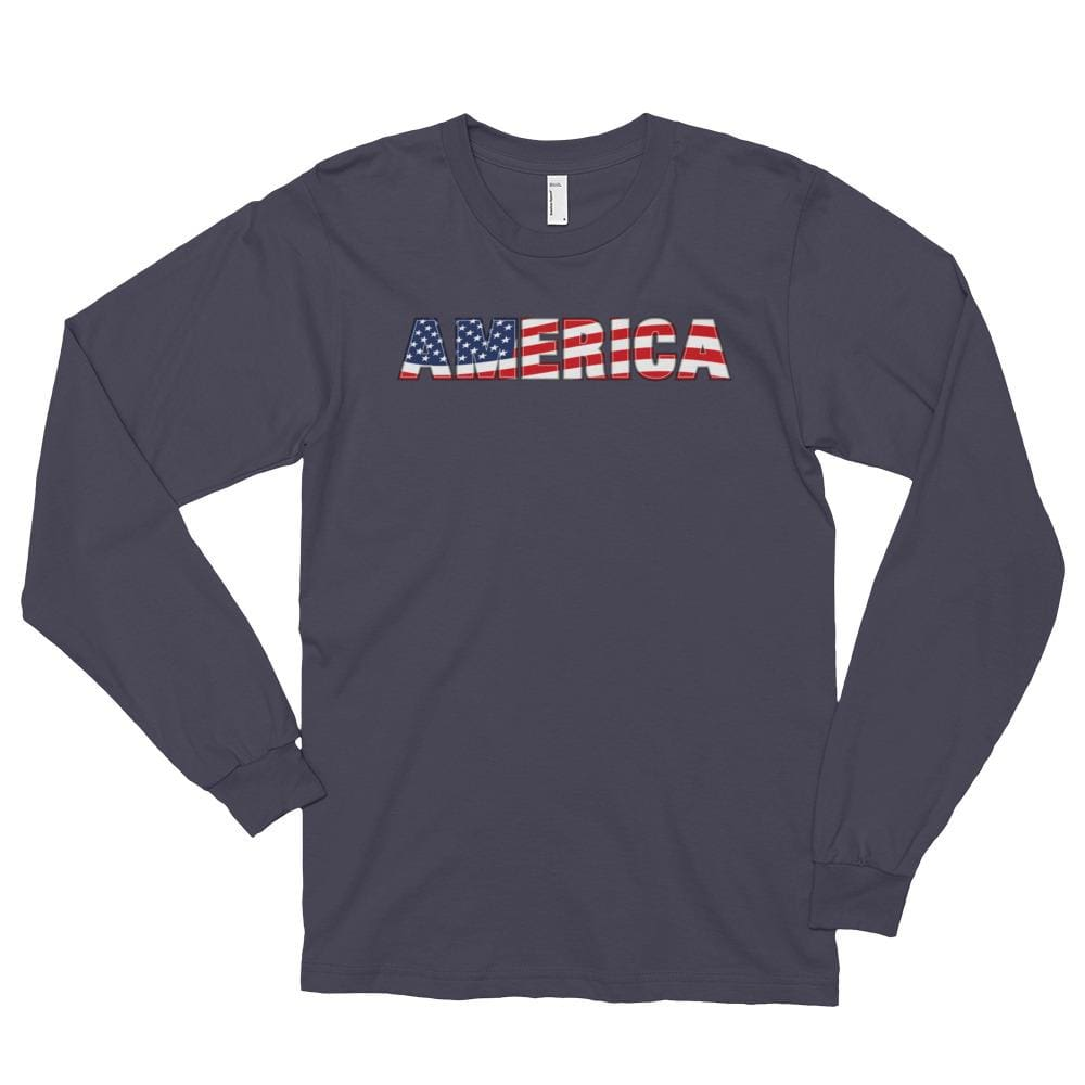 America *MADE IN THE USA* Unisex Long Sleeve T-shirt - Asphalt / S