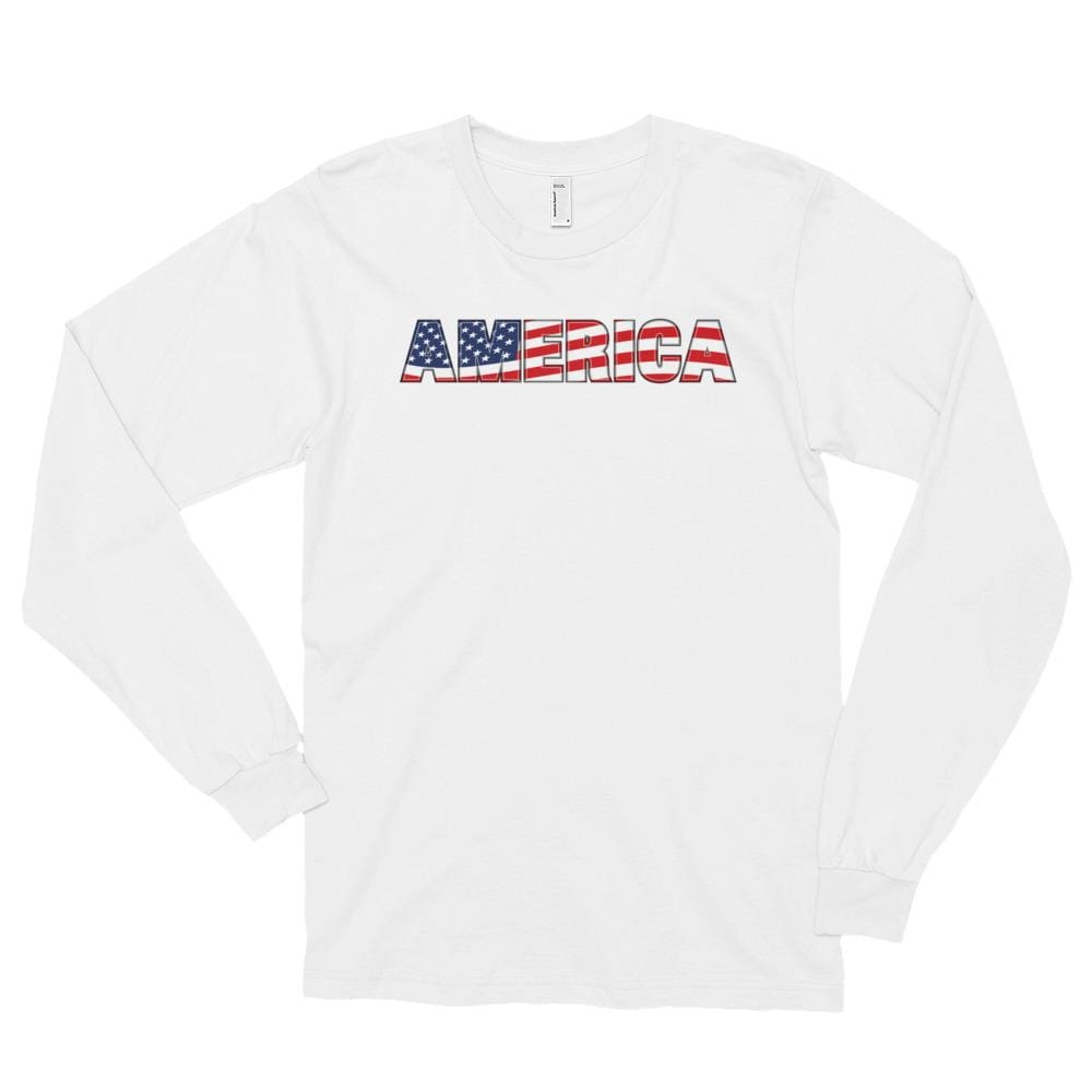 America *MADE IN THE USA* Unisex Long Sleeve T-shirt - White / S
