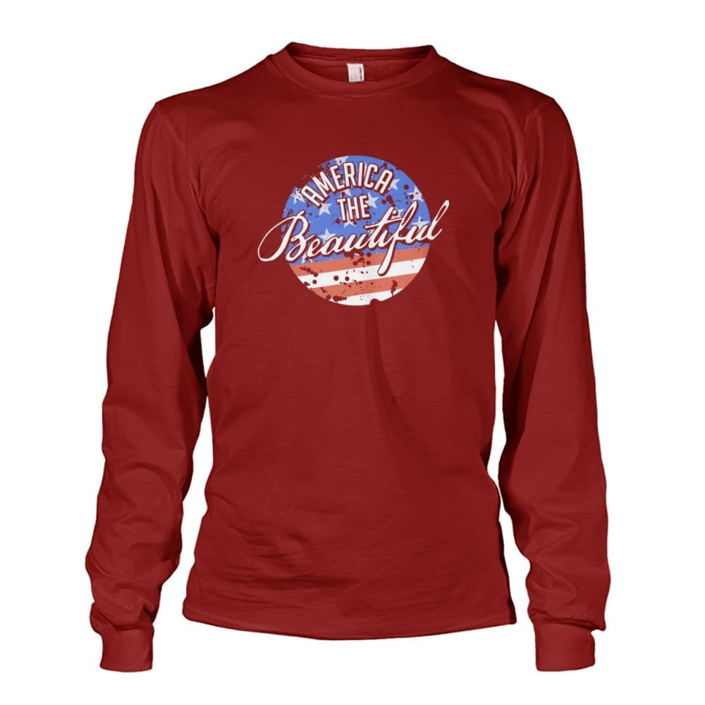 America The Beautiful Long Sleeve - Cardinal Red / S - Long Sleeves