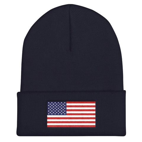 Image of American Flag Cuffed Beanie - Navy