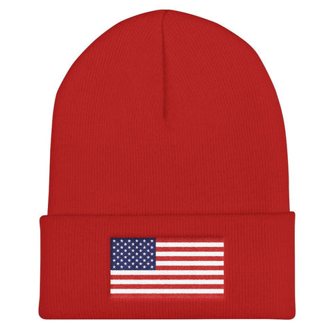 Image of American Flag Cuffed Beanie - Red