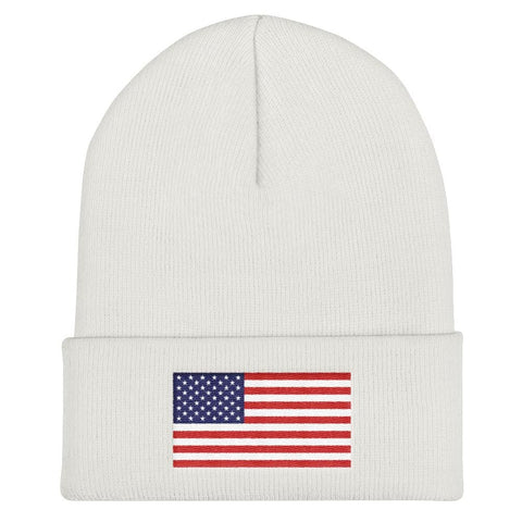 American Flag Cuffed Beanie - Heather Grey