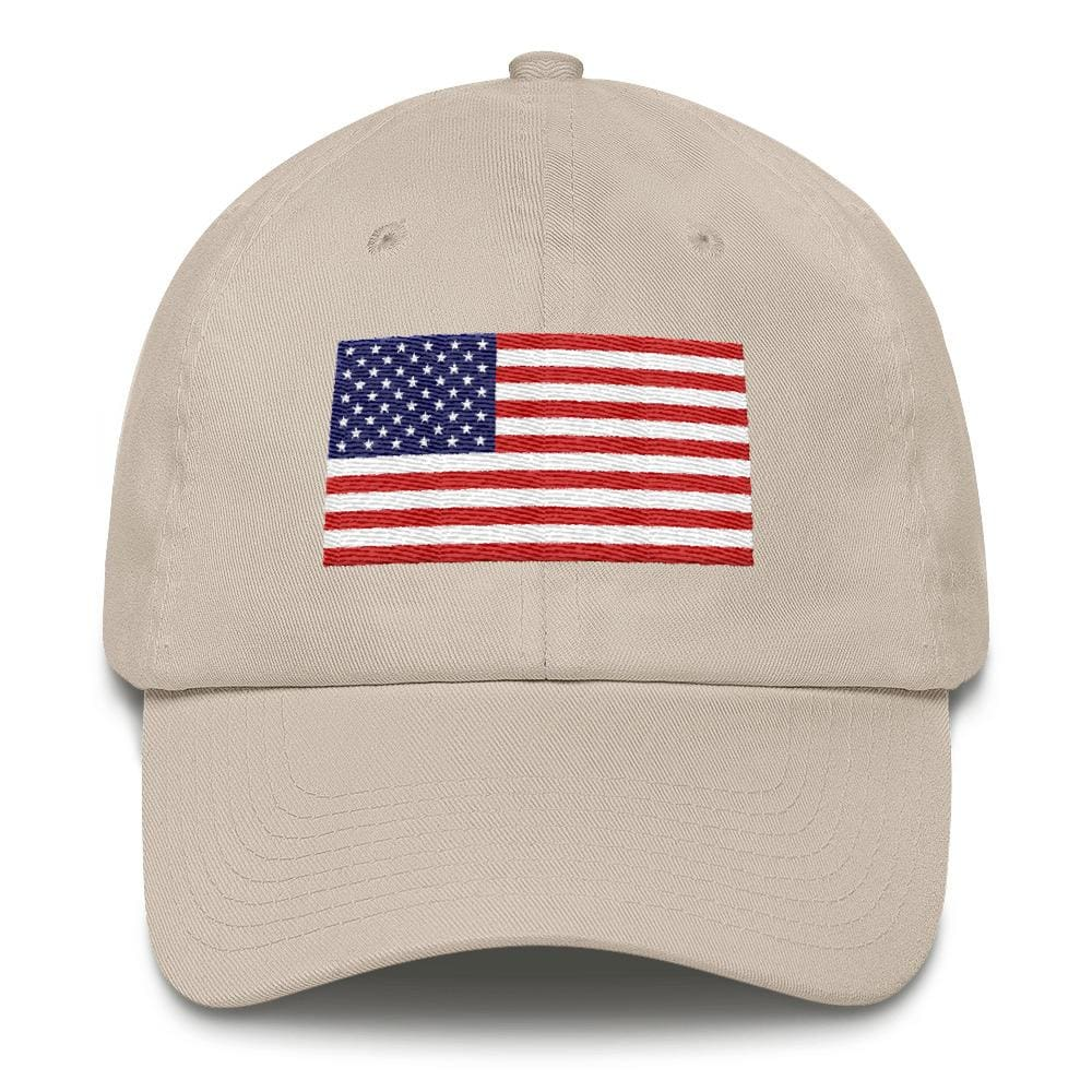 American Flag *MADE IN THE USA* Hat - Stone