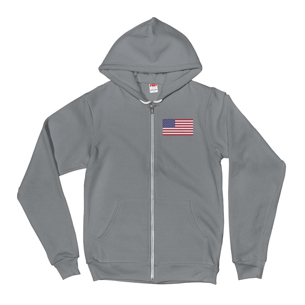 American Flag *MADE IN THE USA* Zip-up Hoodie - Asphalt / XS