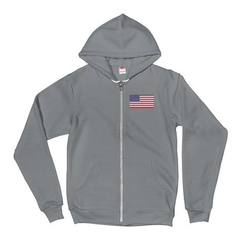 Image of American Flag *MADE IN THE USA* Zip-up Hoodie - Asphalt / XS